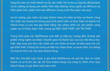 LỜI CẢM ƠN – Đội ngũ Dược sĩ gia đình MyPharma xin gửi lời cảm ơn chân thành và sự tri ân sâu sắc tới Quý khách hàng của công ty